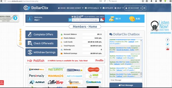 DollarClix.com личный кабинет