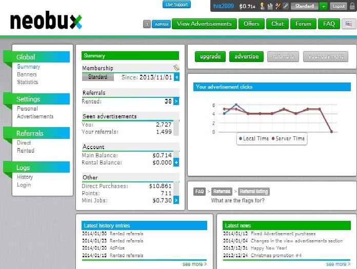 личный кабинет, виды заработка Neobux.com