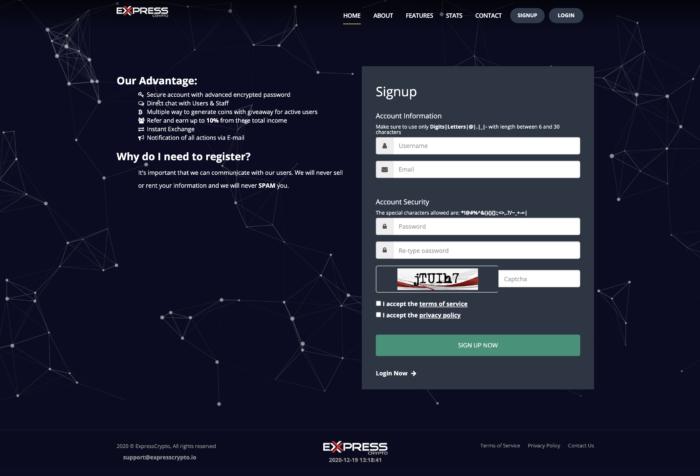 Платформа заработка криптовалюты ExpressСrypto регистрация